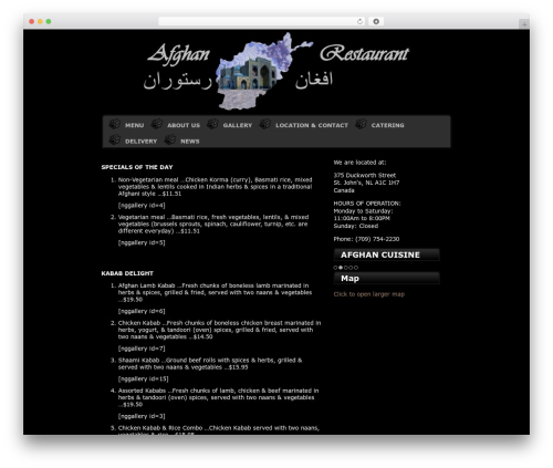 WordPress website template Varg - afghanrestaurant.ca