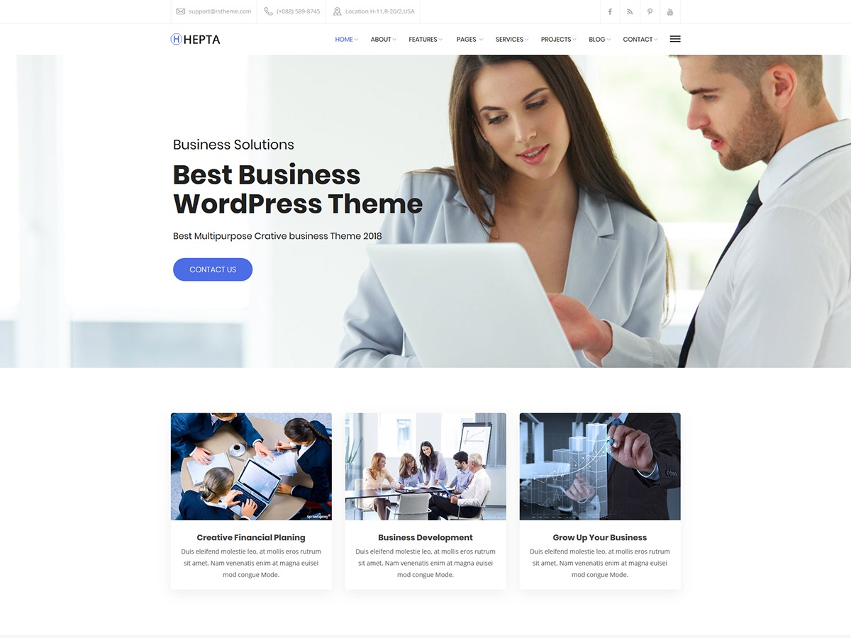 Hepta business WordPress theme