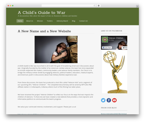Portfolio Press free WP theme - achildsguidetowar.com