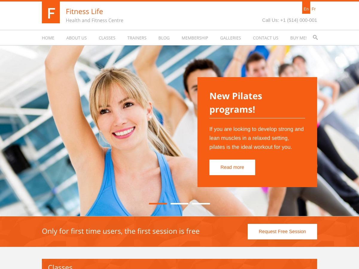 FitnessLife WPL gym WordPress theme