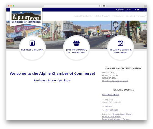 WordPress theme Chamber Beautiful - alpinetexas.com