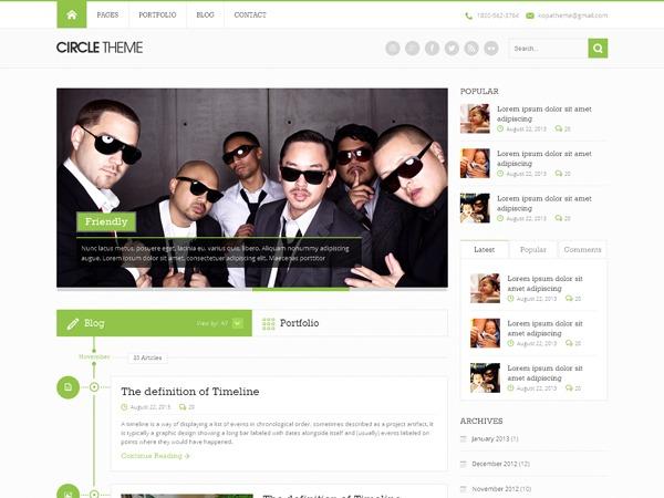 Circle theme WordPress portfolio template