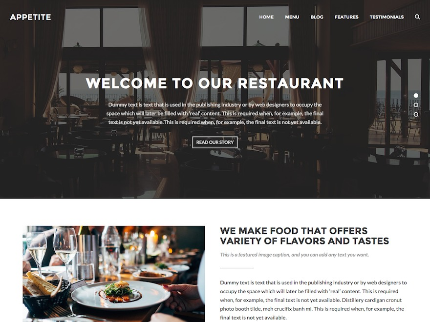 Appetite company WordPress theme