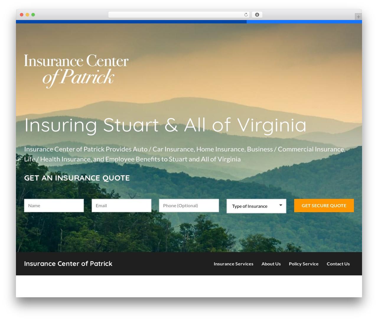 BrightFire Stellar WordPress website template - insurancecenterofpatrick.com