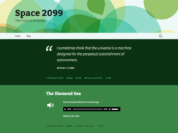 Twenty Thirteen Green WordPress website template