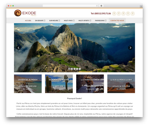 WordPress website template Flatsome - agencevoyageperou.com