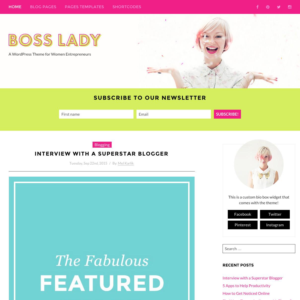 Best WordPress template Boss Lady