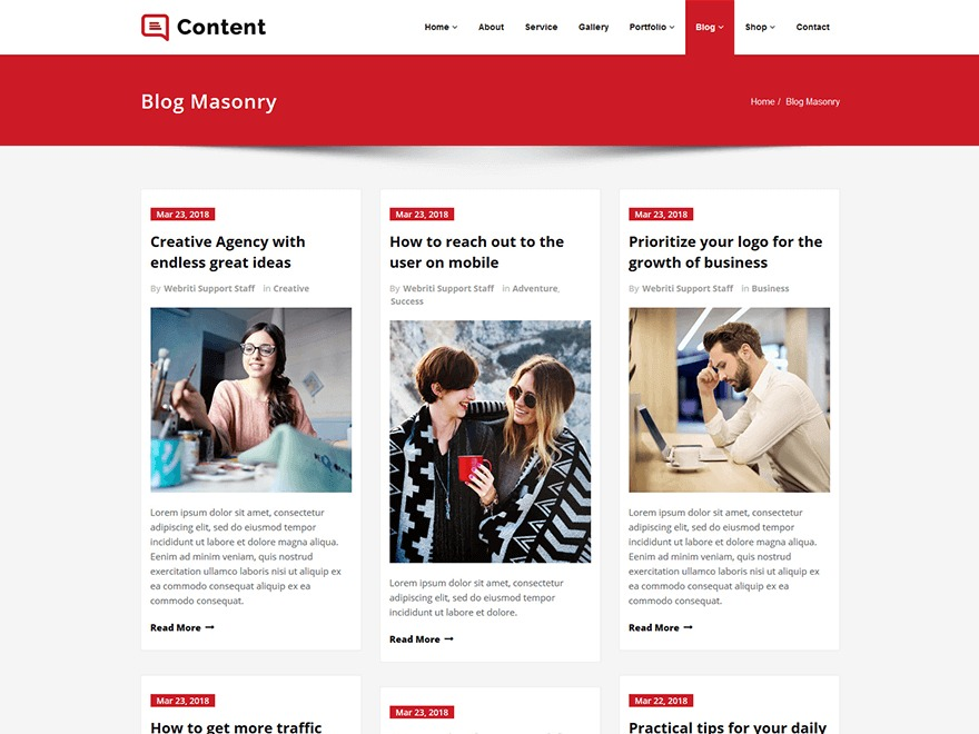 Content free WP theme