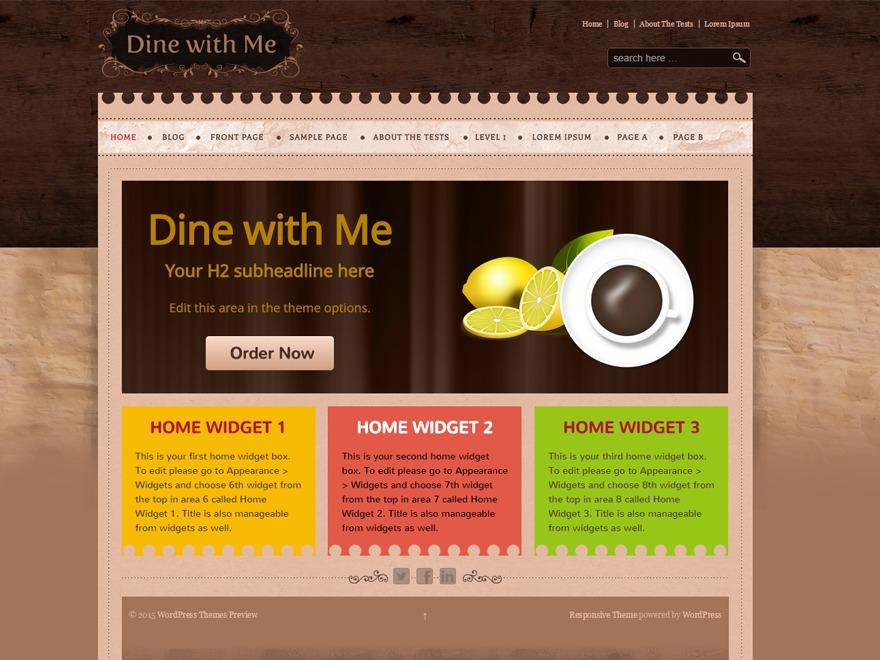 Dine With Me WordPress restaurant theme
