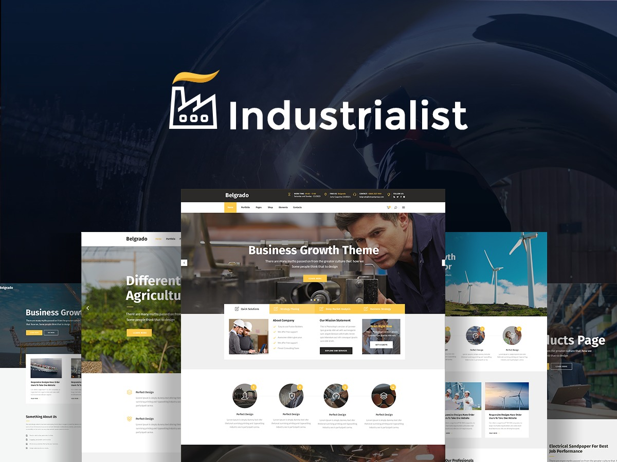 Industrialist WordPress template for business