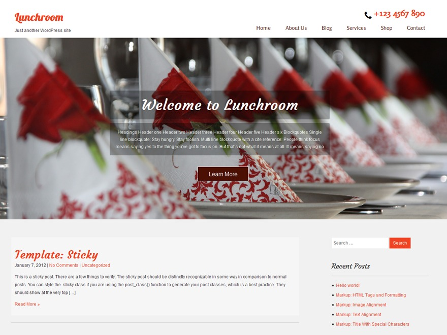 Lunchroom WordPress theme free download
