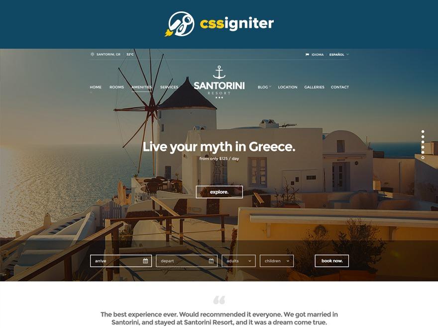 Santorini Resort WordPress hotel theme