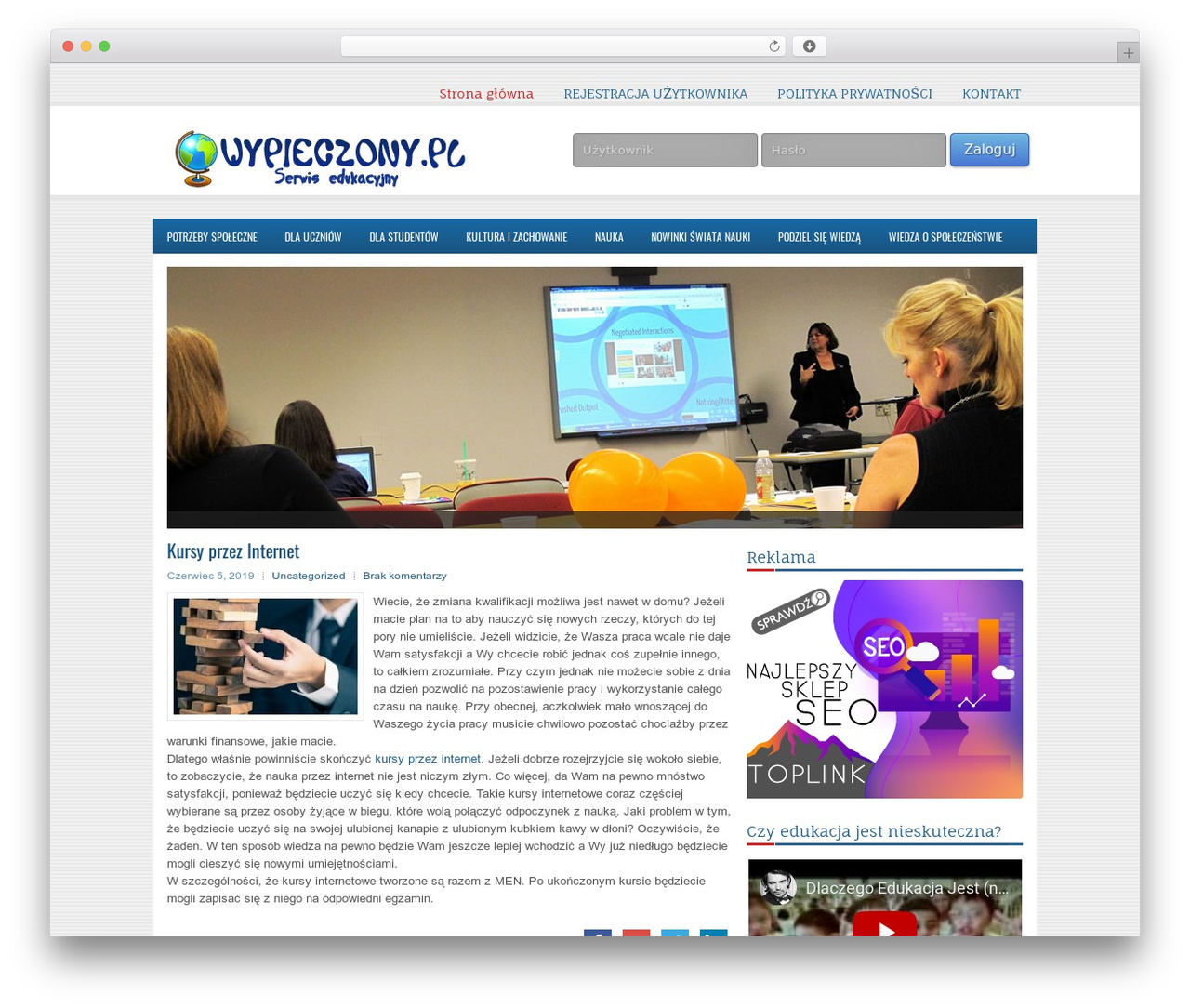 WordPress template EducationPlus - wypieczony.pl