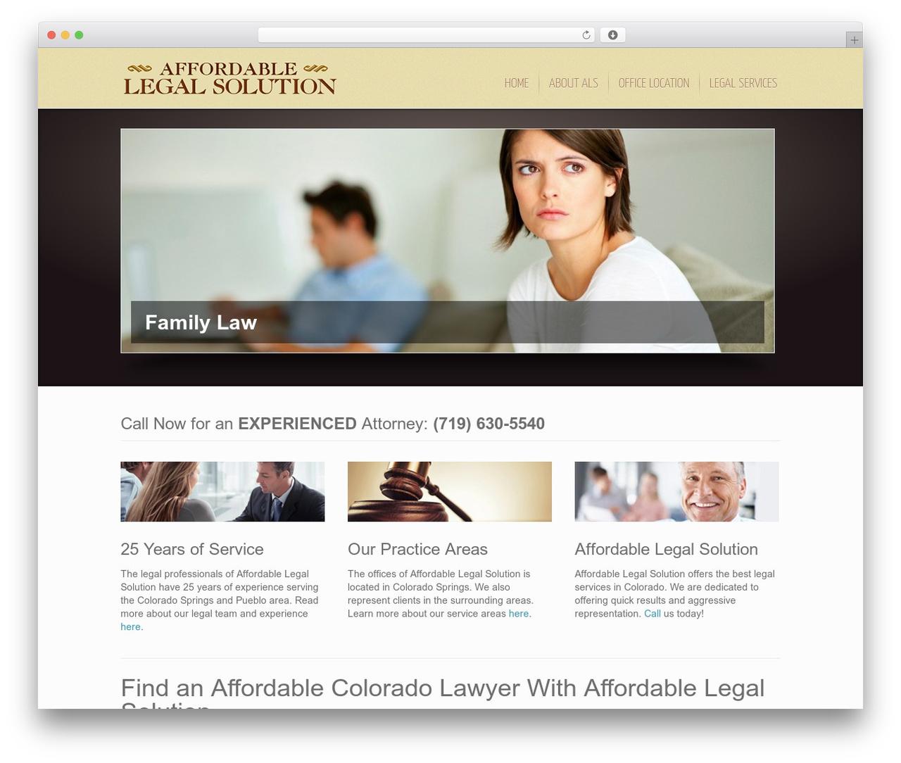 Inspire WordPress template - affordablelegalsolution.com