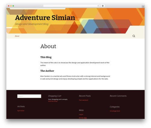 Twenty Thirteen WordPress blog template - adventuresimian.com