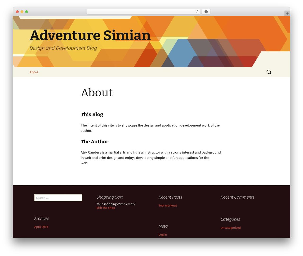 Twenty Thirteen WordPress blog template - adventuresimian.com