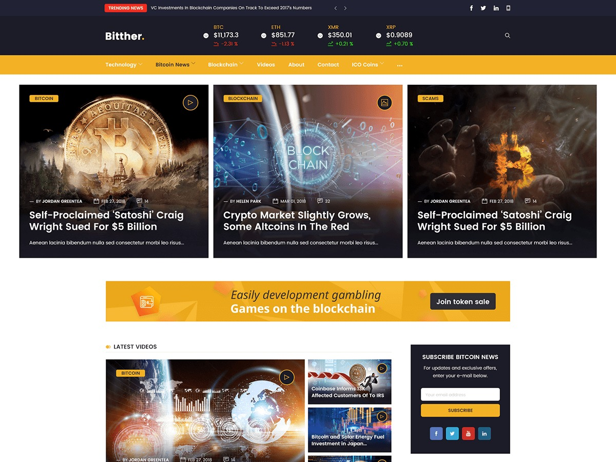 Bitther WordPress magazine theme
