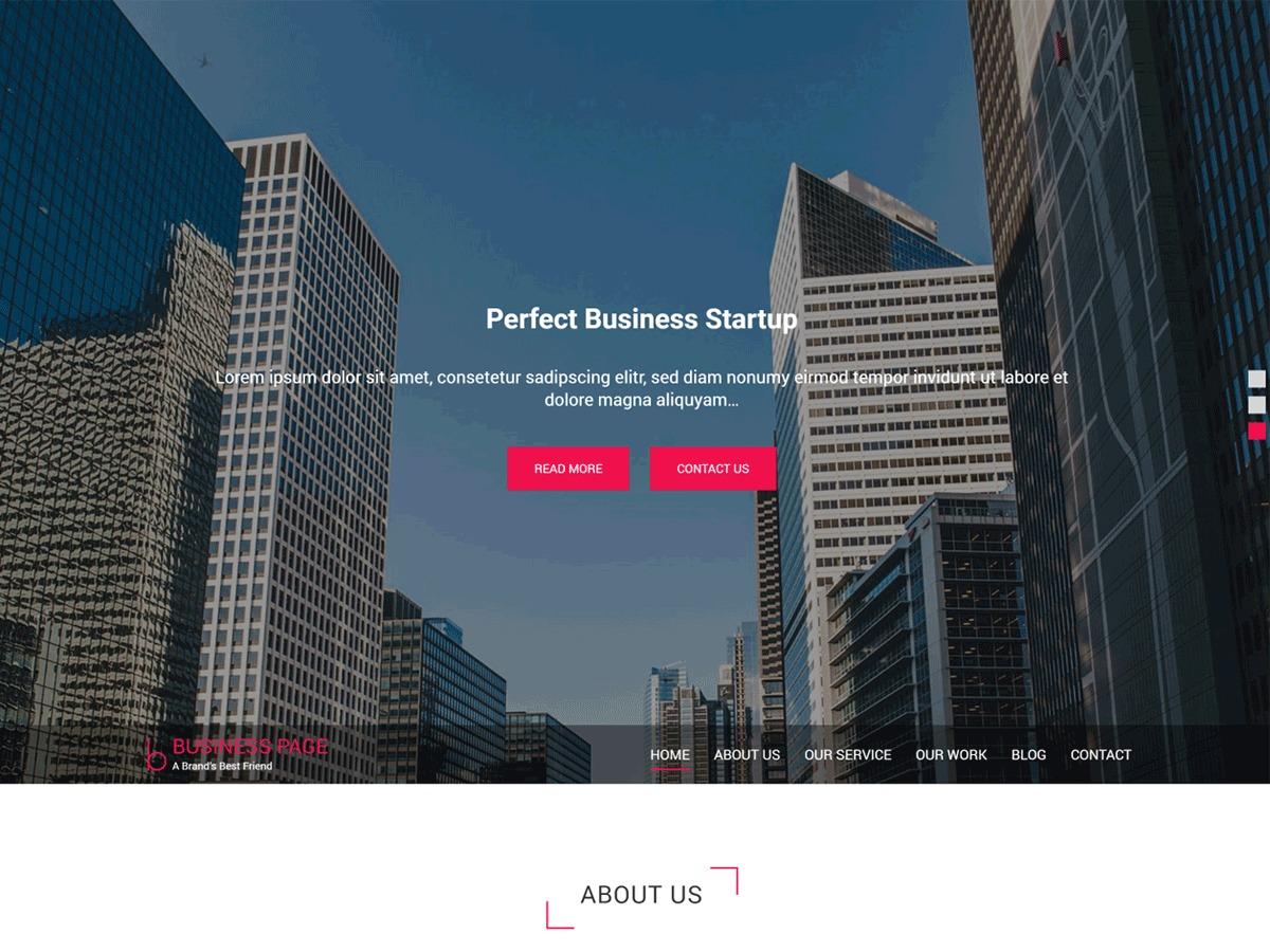 Business Page company WordPress theme