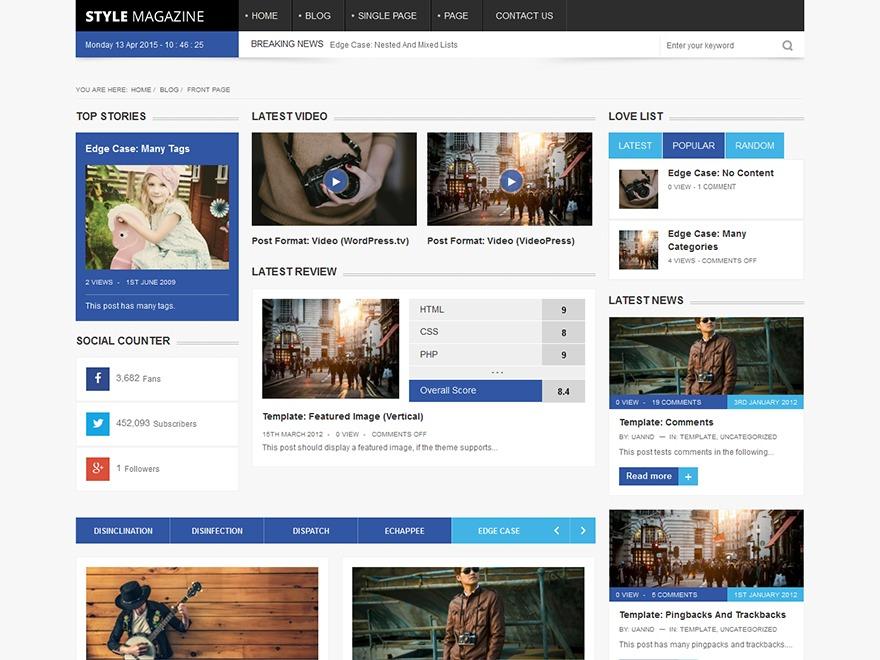 Style Magazine 1.0 (Share On Theme123.Net) newspaper WordPress theme