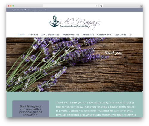 Divi massage WordPress theme - acmassagestudio.com