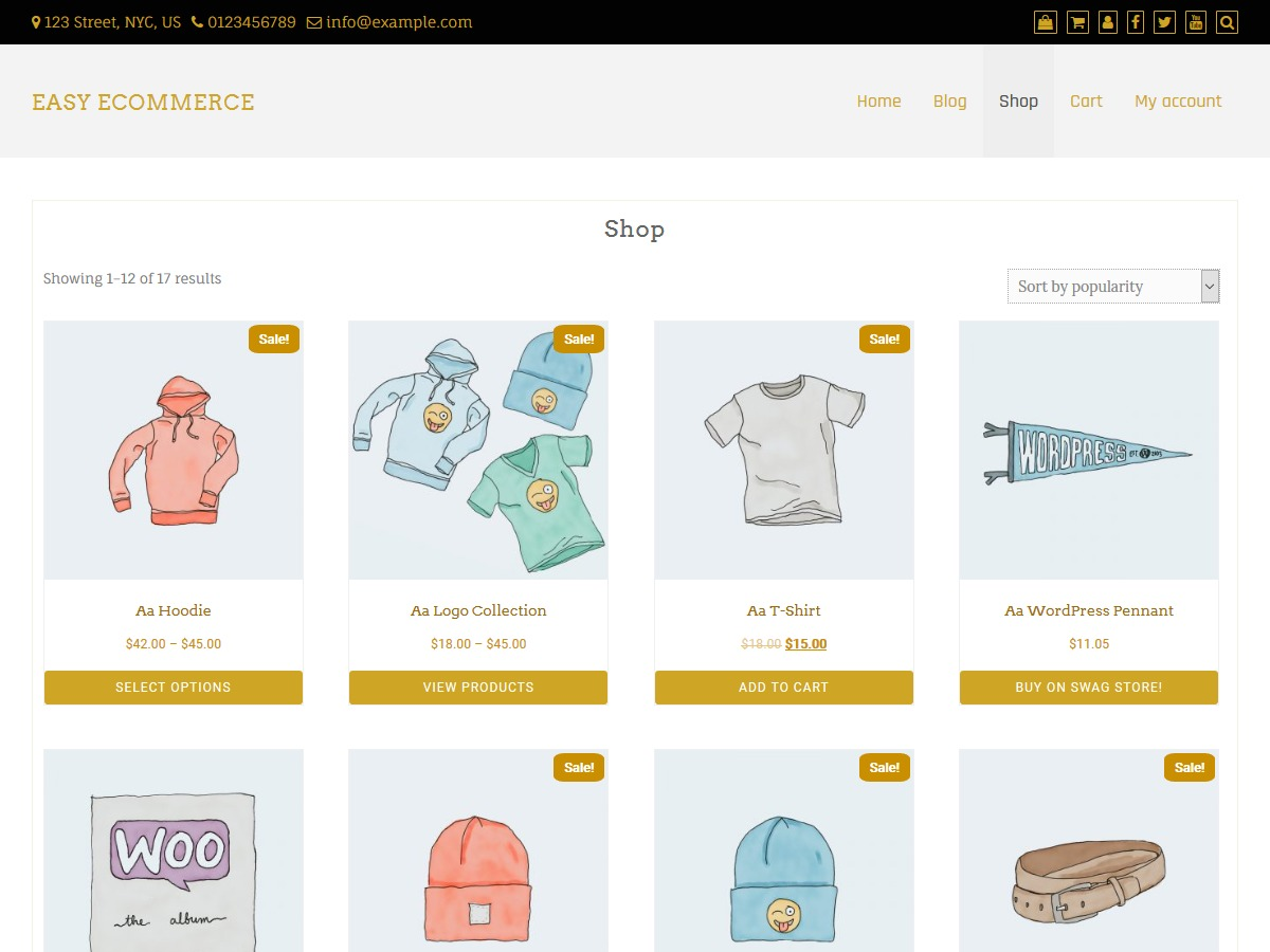 Easy eCommerce wallpapers WordPress theme