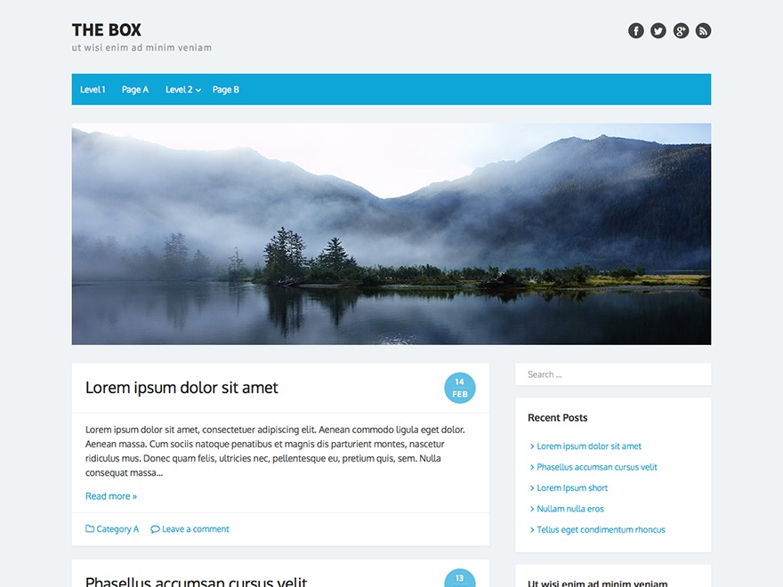 WordPress template the-box-child