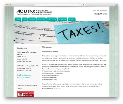 Customized business WordPress theme - ac-u-tax.com