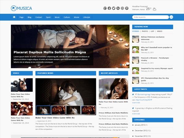 Musica WordPress news template