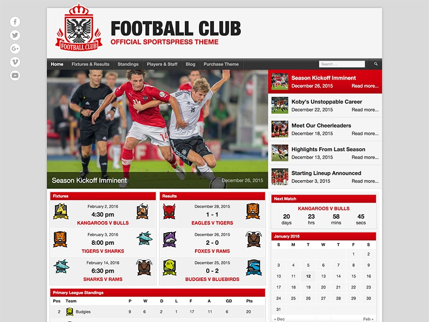 Best WordPress theme Football Club