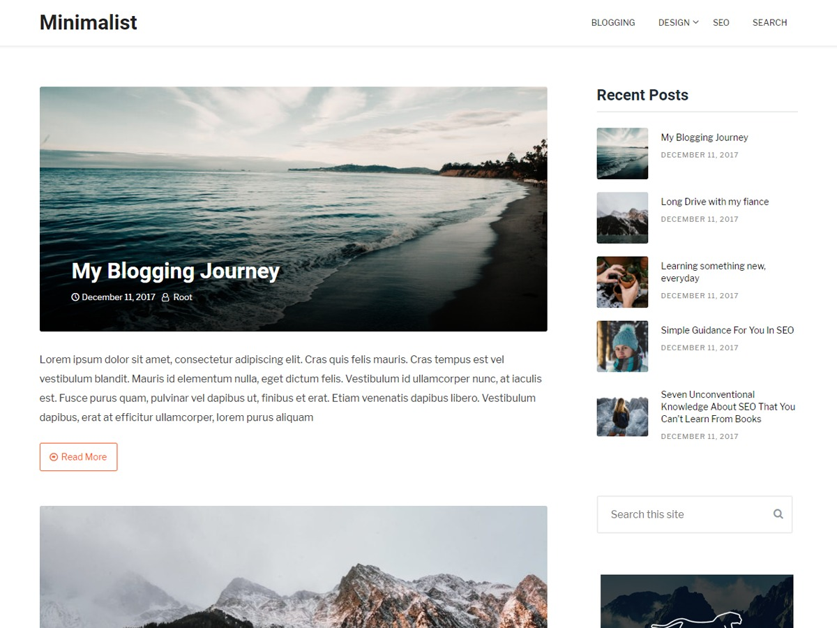 Clean Blogging WordPress template free