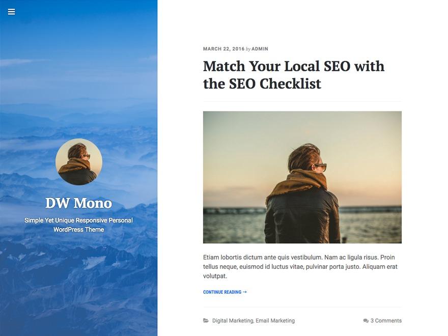 DW Mono WordPress theme download