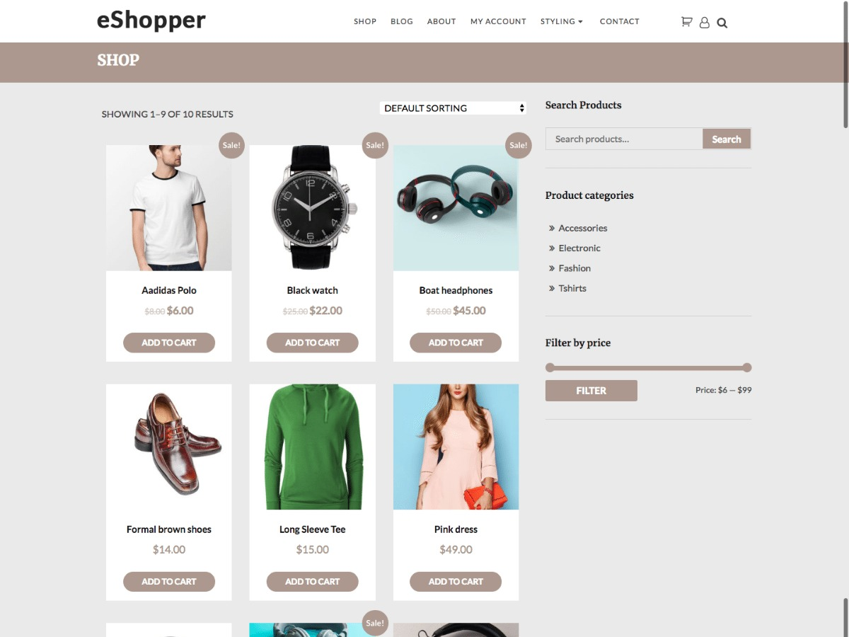 e-Shopper WordPress shopping theme