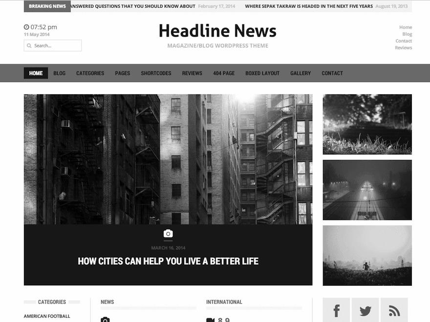 Headline News Child Theme newspaper WordPress theme