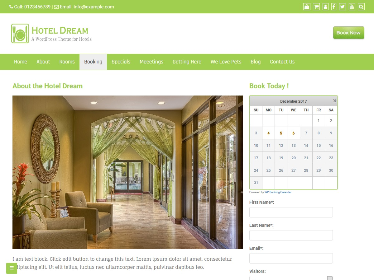 Hotel Dream free WP theme