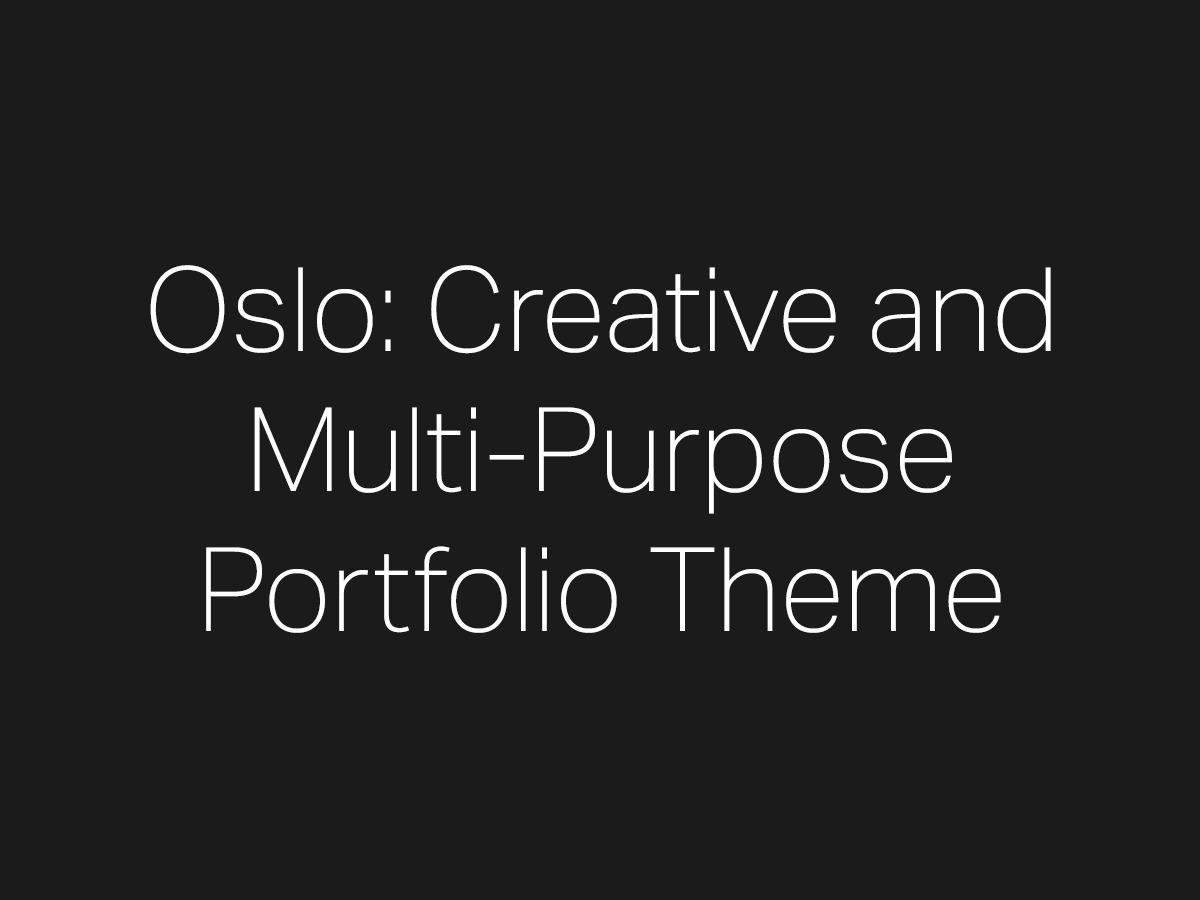 Oslo best portfolio WordPress theme