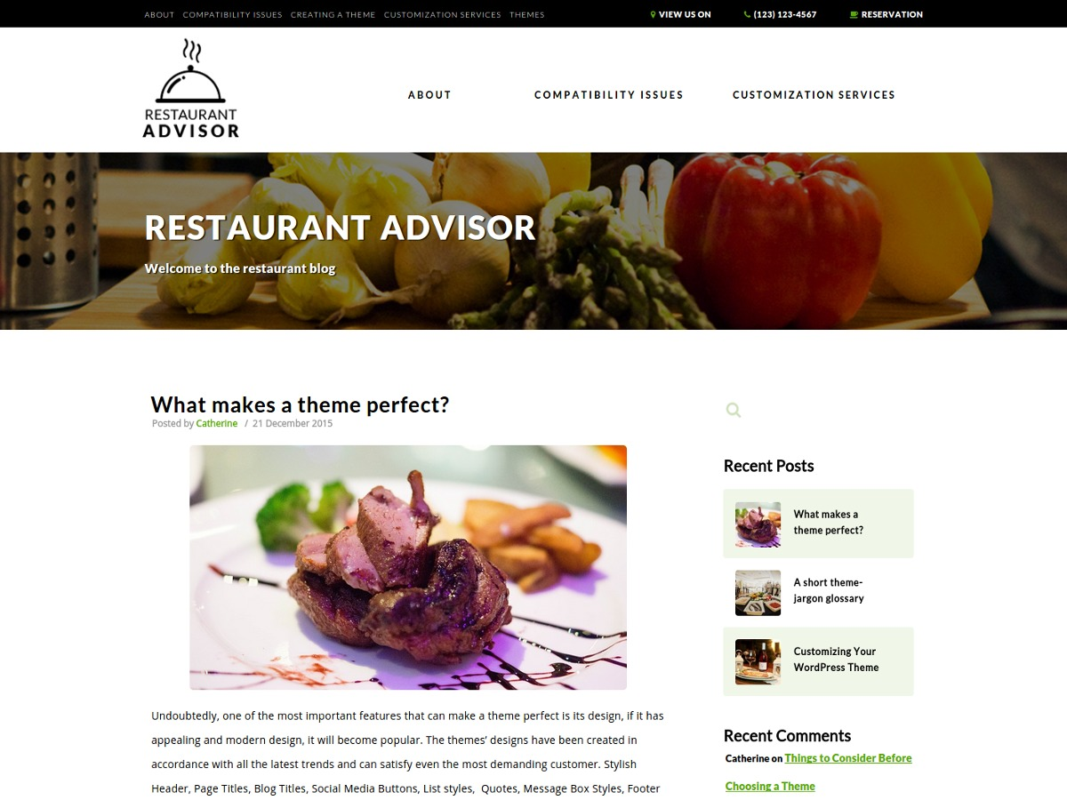 Restaurant Advisor theme WordPress free