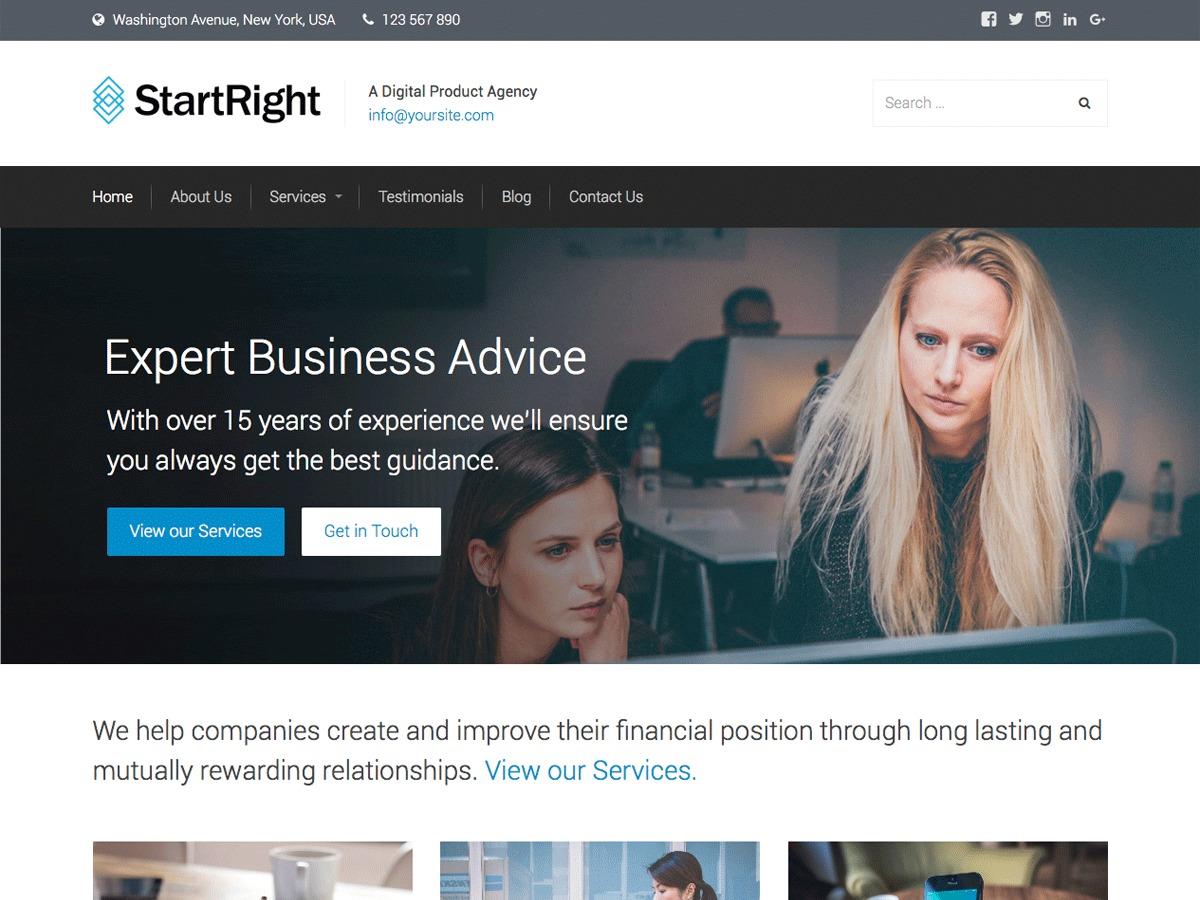StartRight best free WordPress theme