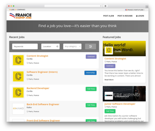 Startup Jobs theme WordPress - francestartupjobs.com
