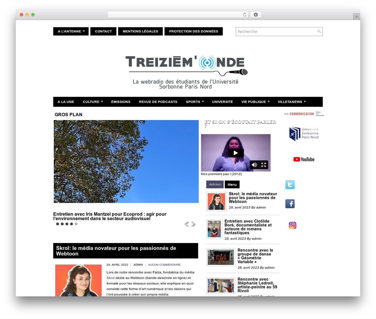 WordPress theme NewsMedia - webradio.univ-paris13.fr