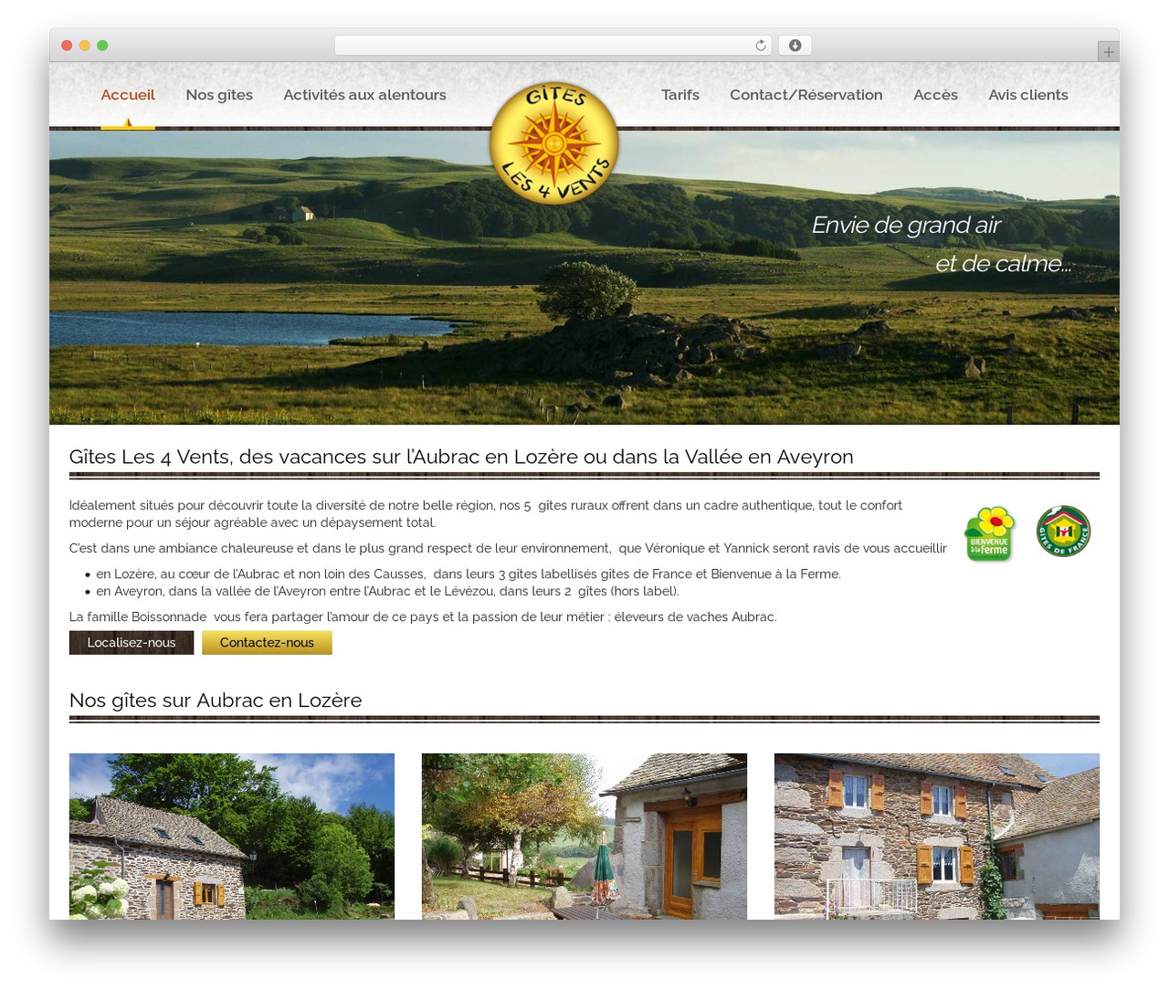Theme BMS WordPress theme design - aubrac-gites.com
