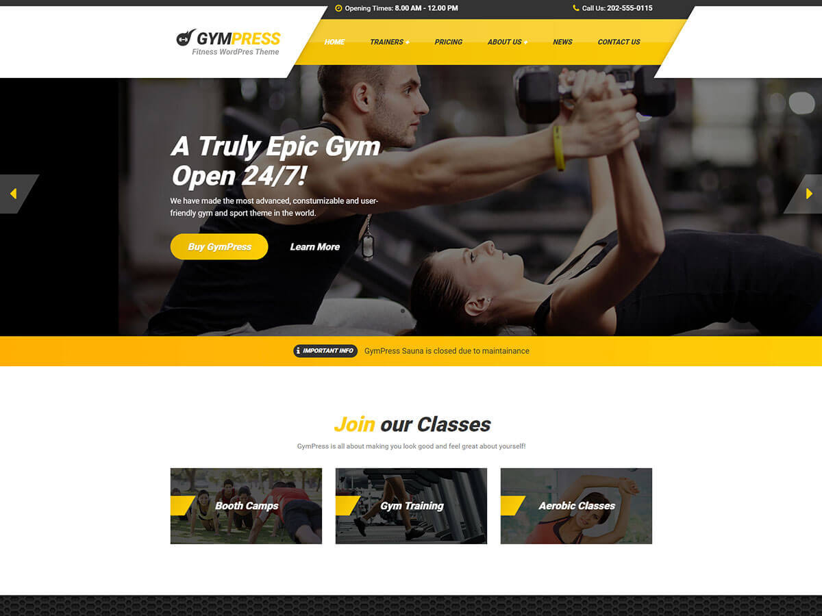 GymPress PT business WordPress theme