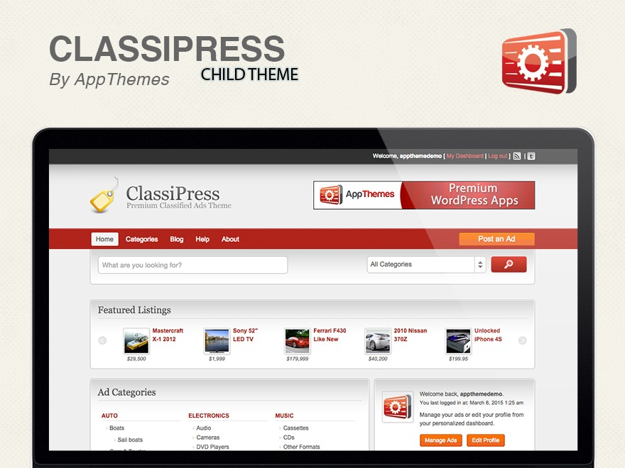 WP template ClassiPress Example Child Theme