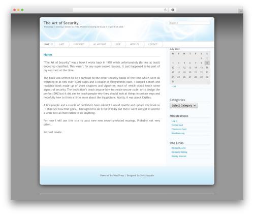 Azul WordPress theme - artofsecurity.com