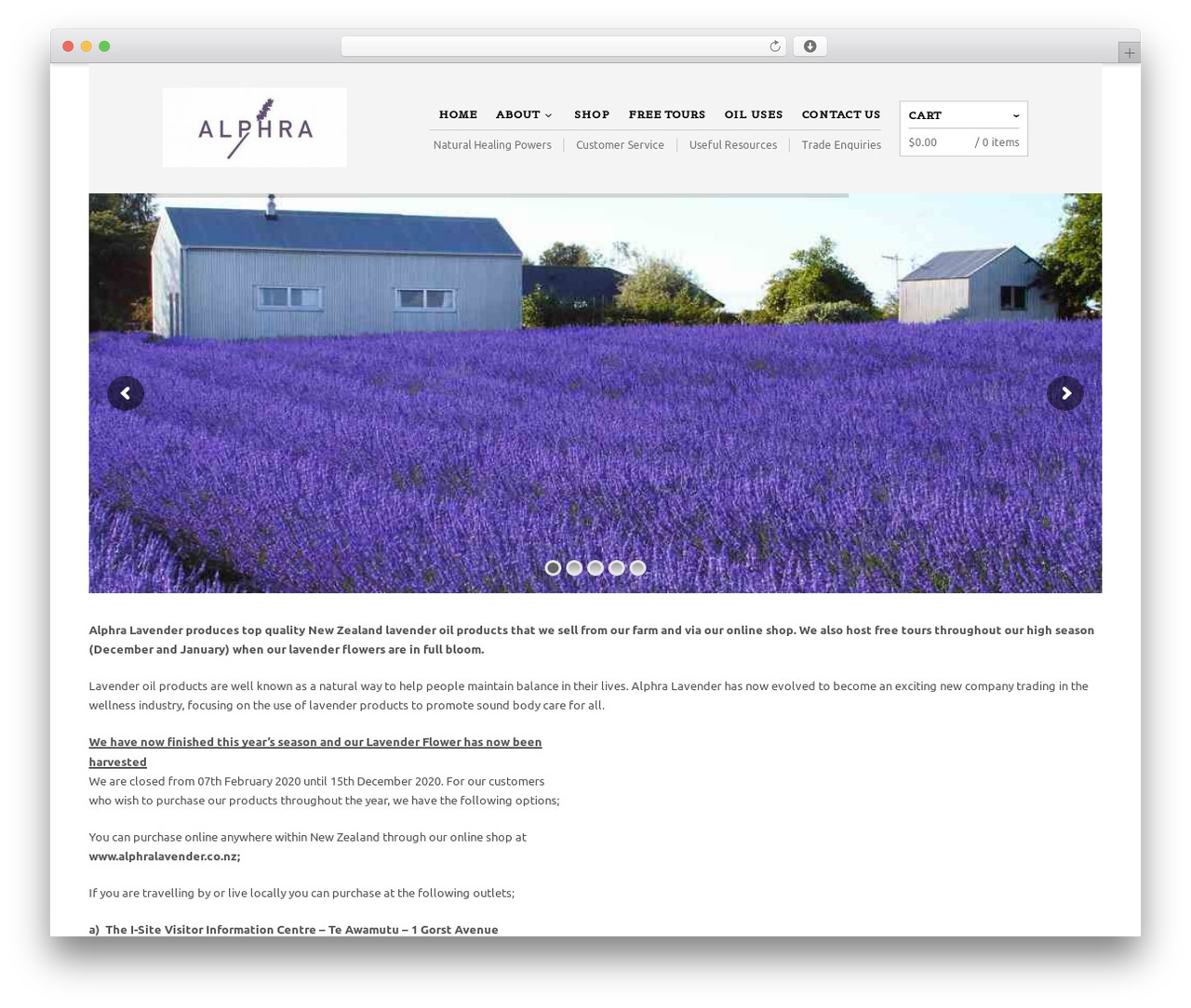 The Retailer WordPress page template - alphralavender.co.nz