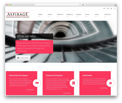 Arkitekt WordPress website template - aspirage.com