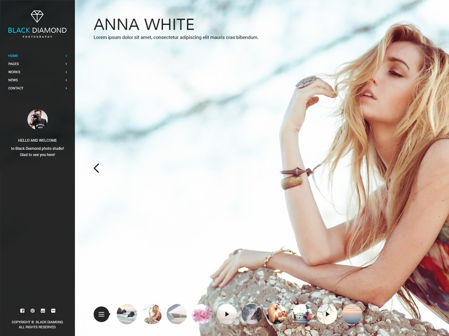 Black Diamond WordPress photo theme