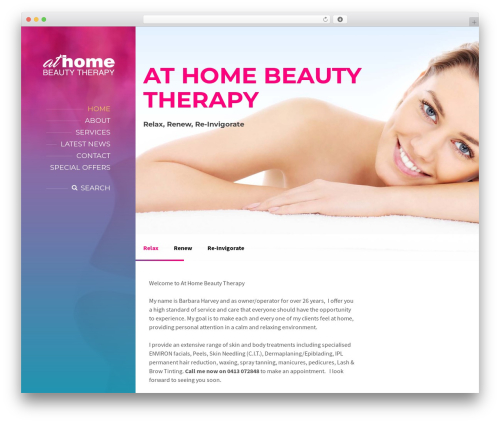 WordPress theme BeautySpot - athomebeautytherapy.com.au