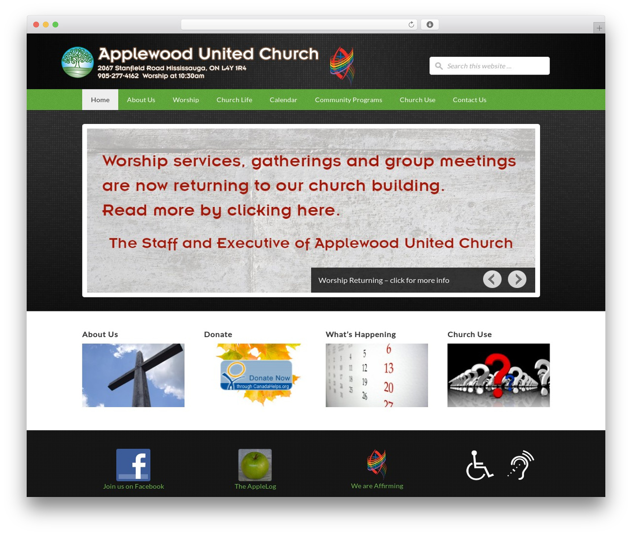 WP template AUC Outreach Child Theme - applewoodunited.ca