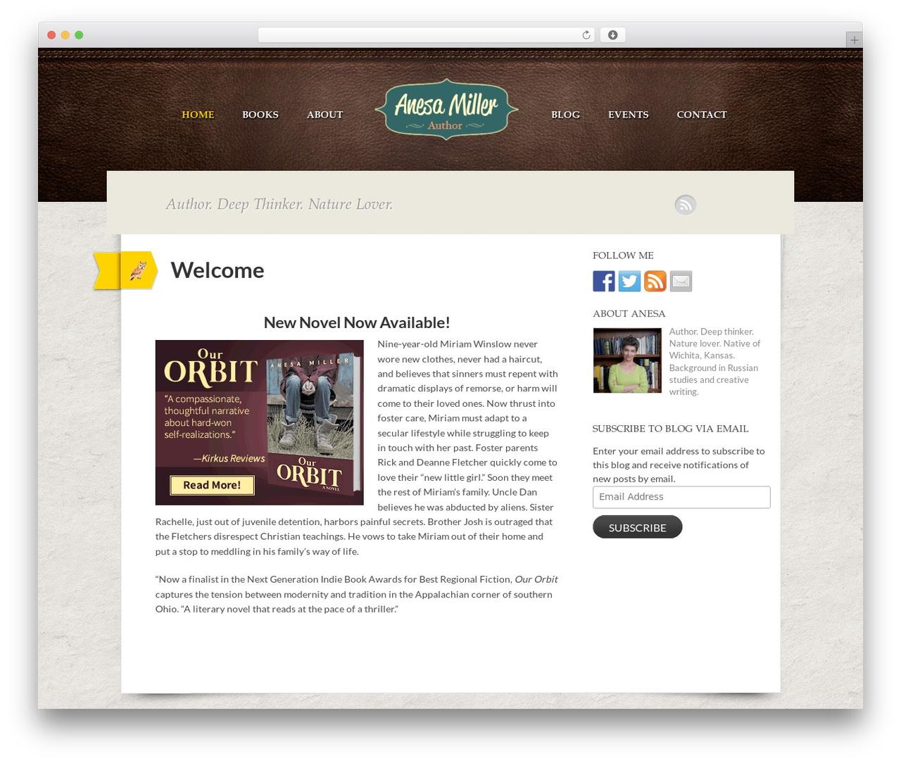 Writer Child WordPress website template - anesamiller.com