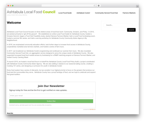 Eco Friendly Lite food WordPress theme - ashtabulafood.org